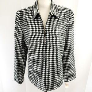 Dressbarn Zip-Up Jacket Blazer Size 14 Houndstooth